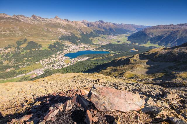 Piz da l'Ova Cotschna, Blick Richtung St. Moritz und Samedan