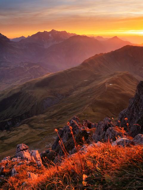 Sonnenuntergang am Großen Widderstein