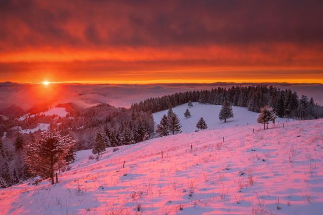 Winterliche Abendstimmung am Schauinsland