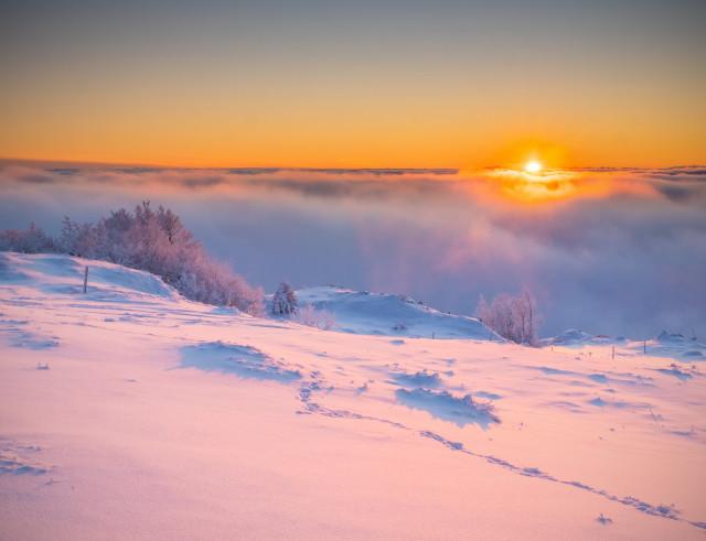 Winterlicher Sonnenaufgang auf dem Herzogenhorn