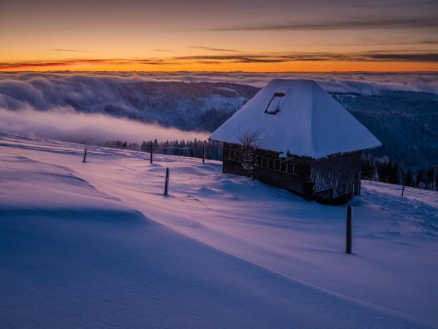 Winterabenddämmerung auf dem Feldberg
